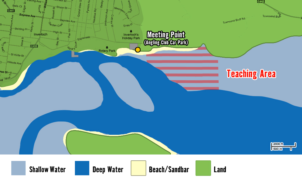 Inverloch kitesurf Map High Tide